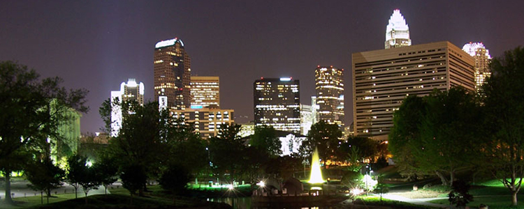 Charlotte, NC at night, by James Willamor
